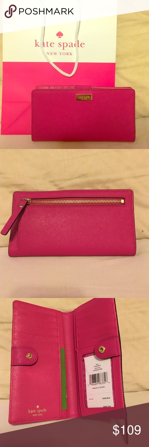 Kate Spade Pink Wallet 💖Brand new Kate Spade Wallet 👛 Laurel Way Collection Sweetheart Pink with Gold accents 💖 Super cute and chic! 💅🏼  🎀 Gift bag, sales tag, and leather care guide included! 🛍  Reasonable offers will be considered. Trades for good quality items only.  Thanks! 😍 kate spade Bags Wallets