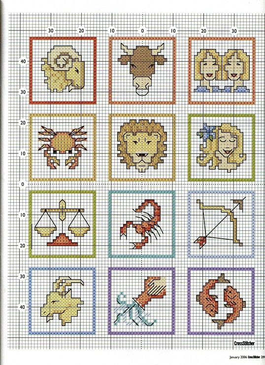 Cross-stitch Horoscope bookmarks, part 1.. color chart on part 2