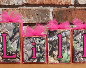 Personalized Camouflage Wooden Blocks with Brown Hot Pink Name Baby Shower Centerpiece Kid Birthday Party Wedding Tulle camo real tree fall