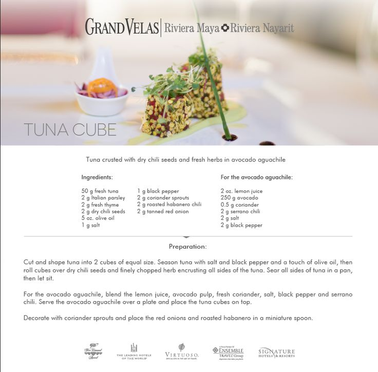 Tuna crusted with dry chili seeds and fresh herbs in avocado aguachile