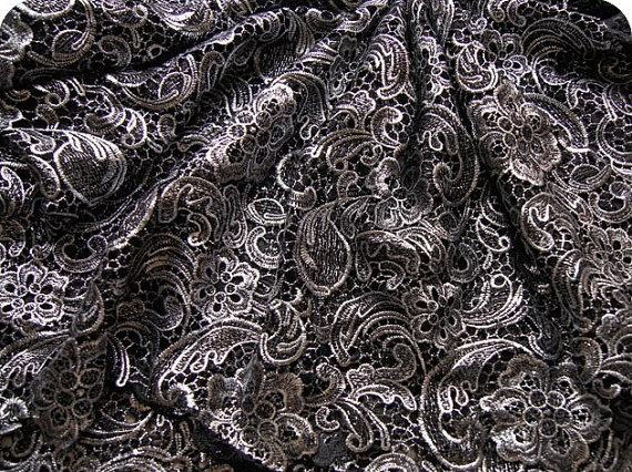 lace fabric hollowed flowers blacksilver/ by StarryFashion on Etsy, $16.00