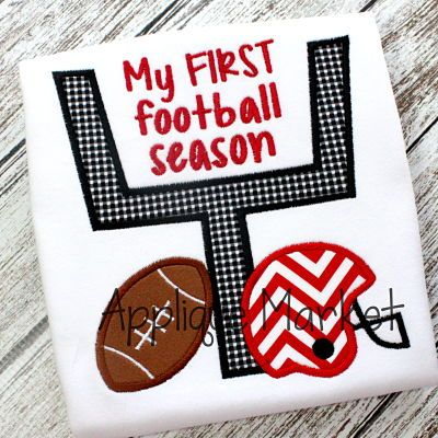 Show your team spirit with Applique Market's broad selection of sports-oriented designs. Support football with our customized goal first football season that is a big crowd pleaser.