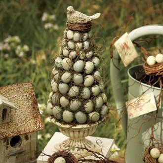 Robin Egg Topiary in Urn  Spring inspired Garden decor by folk artist Bethany Lowe.... cone of spagnum moss filled with soft blue eggs, to...