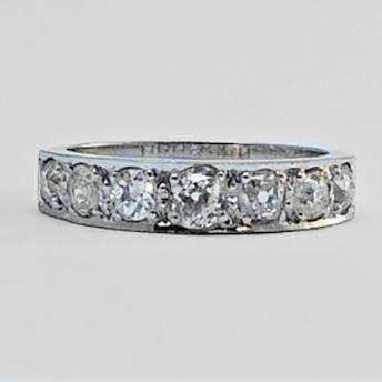 Vintage White Gold Diamond Half Eternity Ring