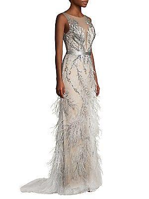 9298586fc430 Basix Black Label Lace & Feather Trim Column Dress   the dress ...