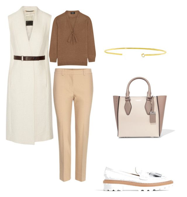 office look by the925editor on Polyvore featuring A.P.C., Helmut Lang, By Malene Birger, Zara, Michael Kors and Jemma Wynne