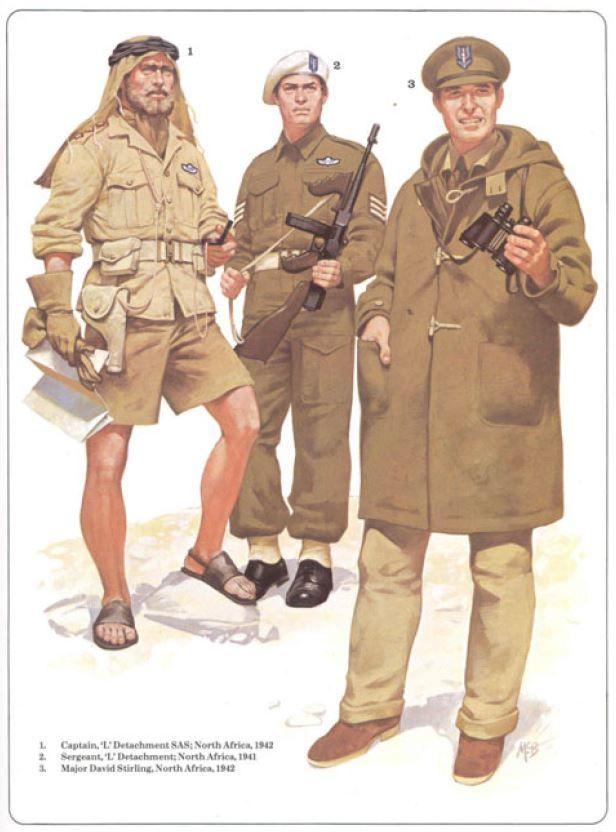 "BRITISH ARMY - 1) Captain, ""L"" Detachement SAS, North Africa 1942 - 2) Sergeant, ""L"" Detachment SAS, North Africa 1941 - 3) Major David Stirling, North Africa 1942"