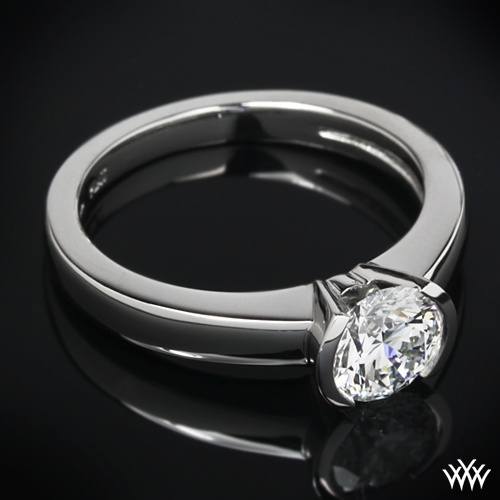 Keystone Solitaire Engagement Ring Is Set In Platinum And The Graceful Half Bezel Holds