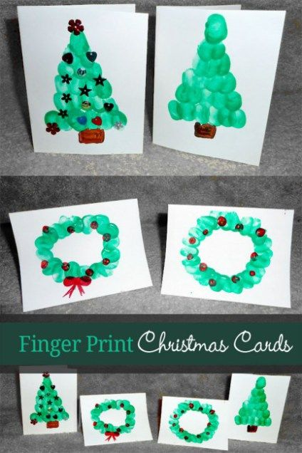 Fingerprint Christmas Cards from Hands On as we grow || 15 Christmas Cards Kids Can Make! || Letters from Santa Holiday Blog!