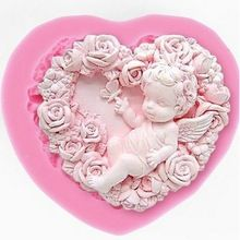 Rose Angel Craft Art Siliconen Zeep Mal 3D Craft Mallen DIY Fimo Hars Klei Kaars Mallen Fondant Handgemaakte Zeep Mallen(China (Mainland))