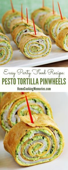 These are so easy and delicious! Pesto Tortilla Pinwheels appetizer recipe -- great for holiday parties!