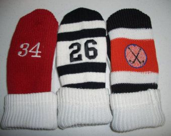 Hockey Sock Mittens   *I want to make these! I think I can use my recycled sweater mitten pattern and recycle the kids outgrown hockey socks.
