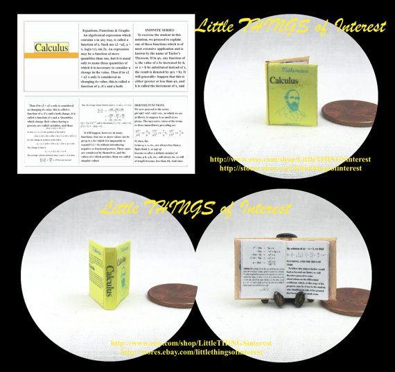 CALCULUS Textbook Miniature Book Dollhouse by LittleTHINGSinterest
