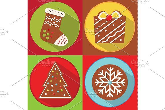 Christmas gingerbread cookies icons by Bunny's Little Shop on @creativemarket