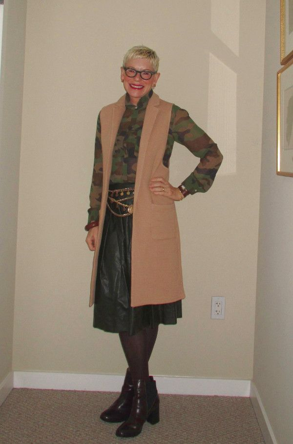 What Jeanne Wore: Camel Vest and Faux Leather Skirt - Two Take on Style