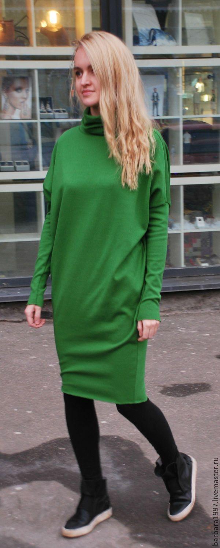 Купить Платье Assymetric Green - зеленый, платье, платье из трикотажа, трикотажное платье