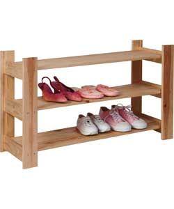 3 Shelf Shoe Storage Rack - Solid Pine.
