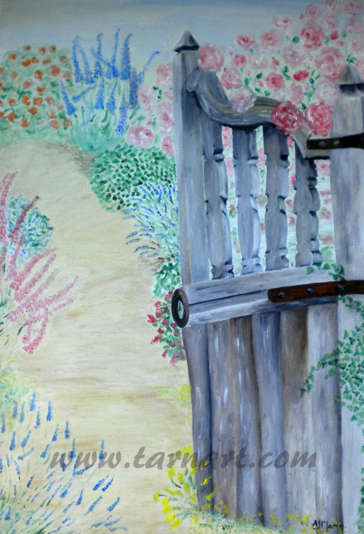 Old Garden Gate. original oil painting, summer painting,canvas wall art,summer garden, fine art painting, floral artwork,unique painting - pinned by pin4etsy.com