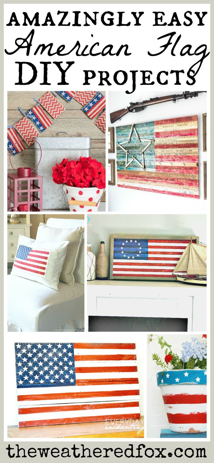 American Flag Decor Ideas. DIY patriotic projects for summer decor. Show your american pride with these simple decor ideas!