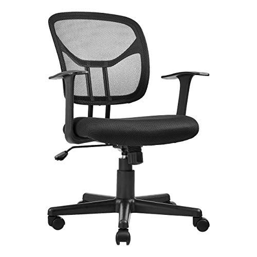 AmazonBasics Mid-Back Desk Office Chair with Armrests – Mesh Back, Swivels – Black