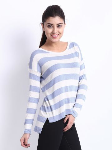 United Colors of Benetton Women Blue & White Striped Top