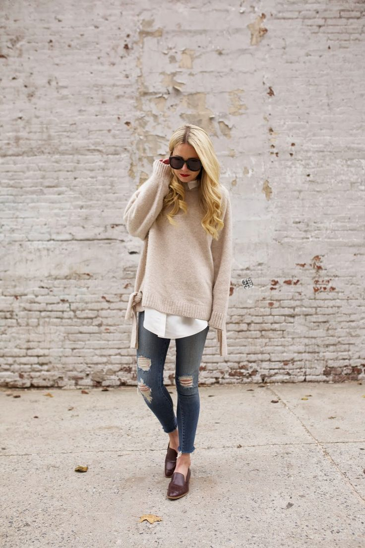 Neutral knit layered over a white shirt & distressed denim #style #fashion #AtlanticPacific