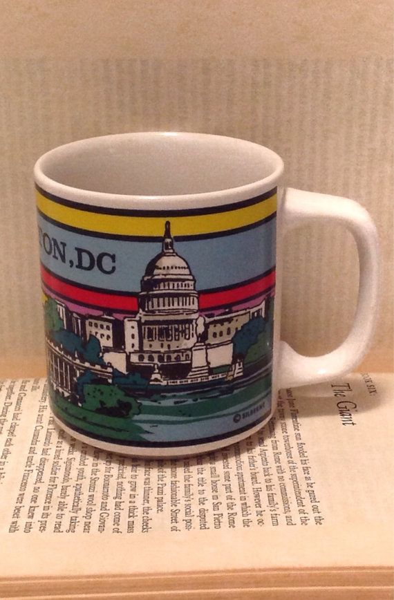 Vintage Washington DC Coffee Cup Silberne Mug Retro Primary Colors Graphic  Novelty Souvenir Memento American Drinkware