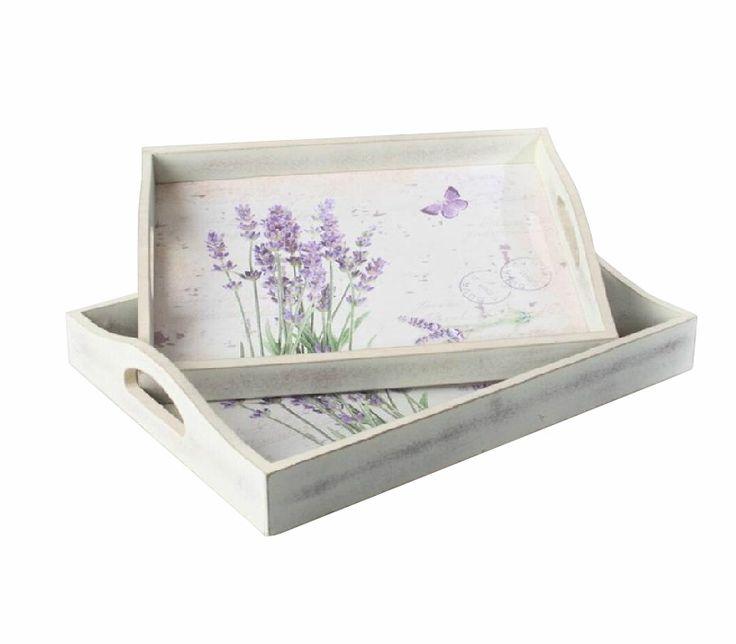 Bandejas de madera lavanda set de 2 | Cestas y bandejas | Artículo Bellossignos