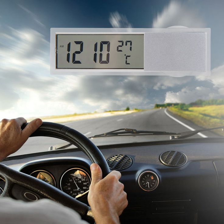 2 in 1 Mobil Mobil Jam Termometer jam di dalam mobil LED digital display dengan Cangkir Hisap AG10 Tombol Sel Baterai Dioperasikan