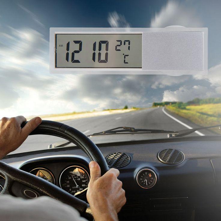 Mini 2 en 1 LCD Digital Del Coche Del Carro Del Reloj + Termómetro con Ventosa AG10 Pilas de Botón 90x27x15mm