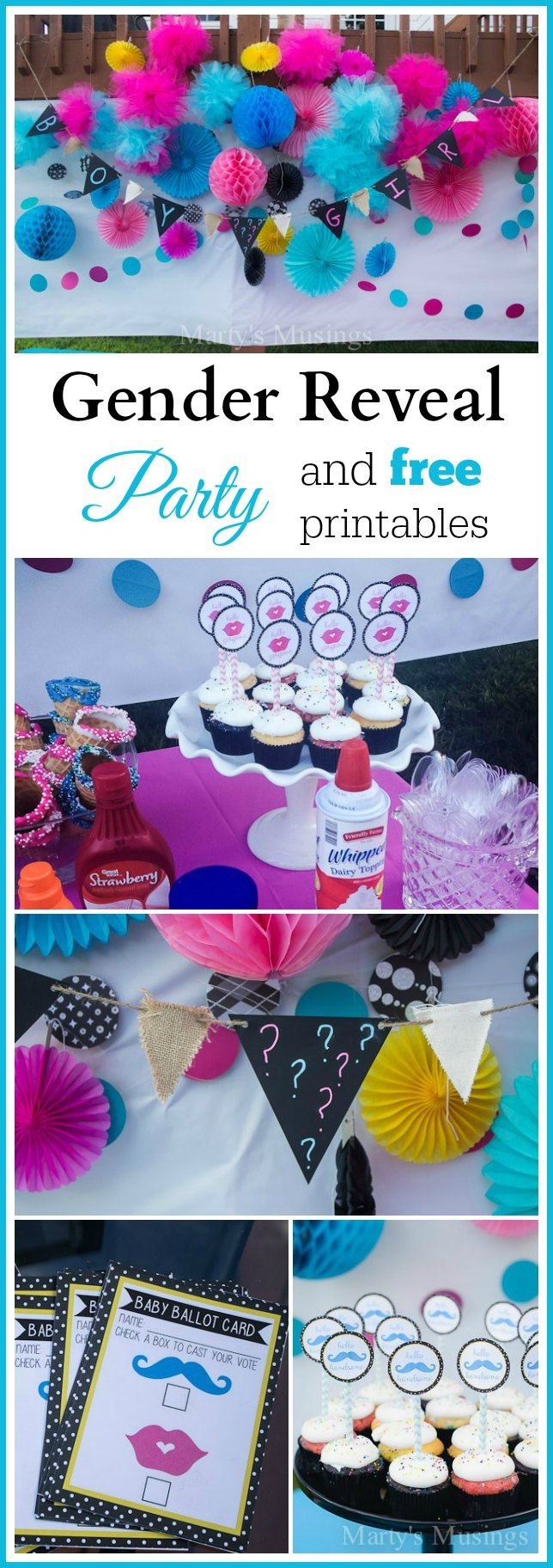 All the details and practical tips on throwing a precious baby gender reveal party. Includes free printables with ideas for food, decor and reveal.