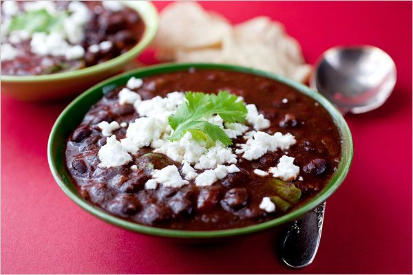 Recipes for Health - Black Bean Chili - NYTimes.com: Fun Recipe, Clean, Black Bean Chili, Veggies Food, Fit Nutrition, Ny Time, New York Time, Black Beans Chilis, Mr. Beans