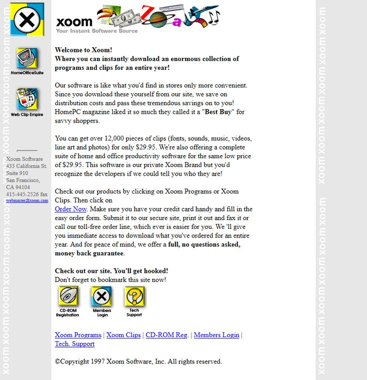 Xoom Software website in 1997