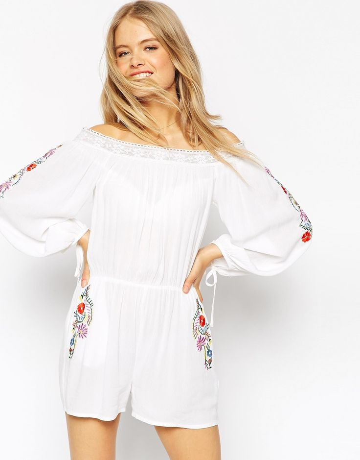 Image 1 ofASOS Off Shoulder Playsuit with Lace Trim and Floral Embroidery