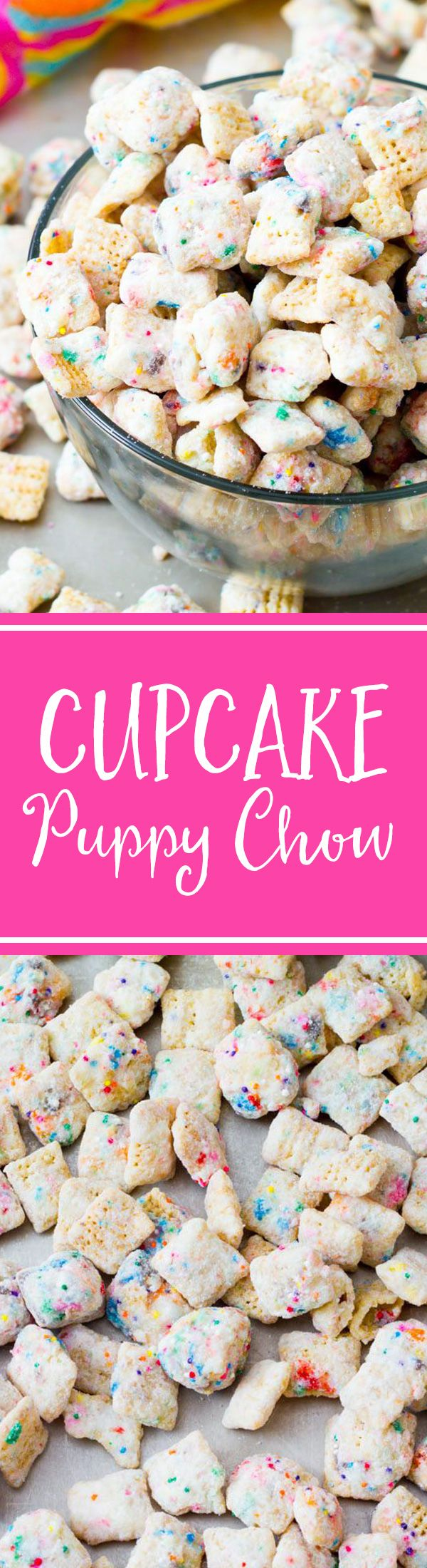 Addicting snack mix that tastes like cupcake batter! Made without cake mix. Recipe on sallysbakingaddiction.com