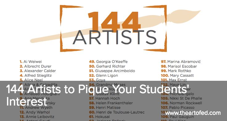The Art of Ed - 144 Artists to Pique Your Students' Interest