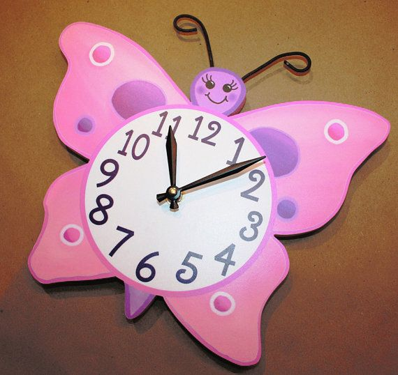 Pink and Purple Butterfly Wooden WALL CLOCK Girls Bedroom Baby Nursery Art Decor