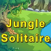 Pyramid Solitaire set in the Jungle. Remove 2 free cards that have a total value of 13 (K=13, Q=12, J=11, A=1).