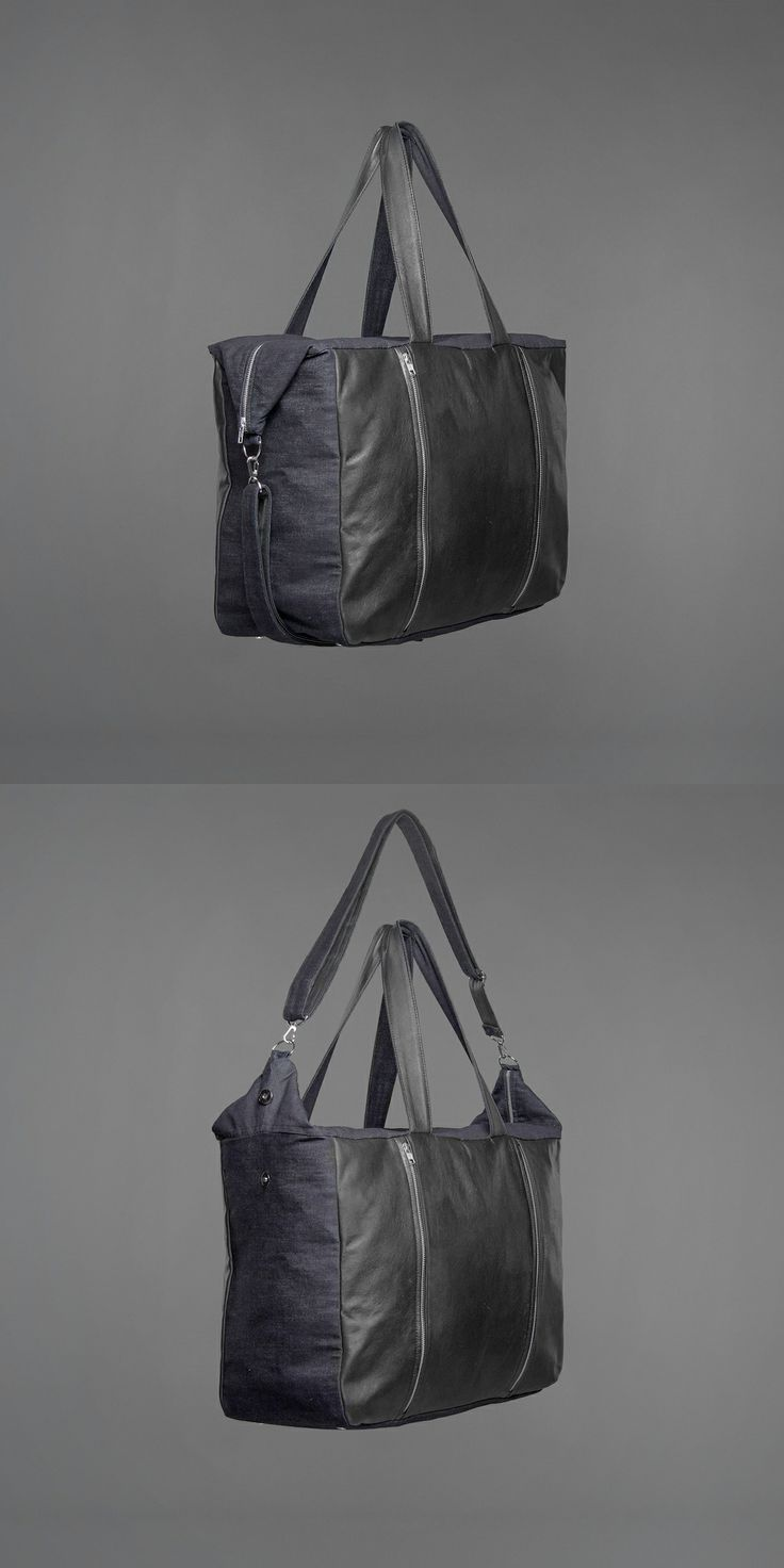 Thea Weekend Bag - denim & recycled leather http://ervinlatimer.com/product/thea-weekend-bag