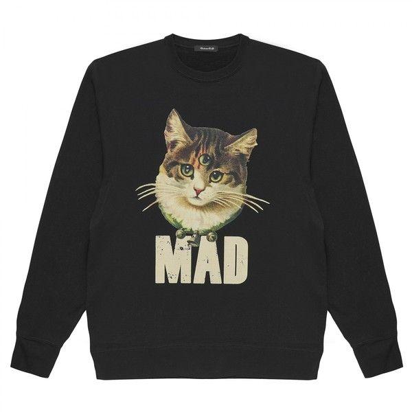 Undercover Madstore Cat Sweatshirt (Black) (4.769.980 IDR) ❤ liked on Polyvore featuring tops, hoodies, sweatshirts, cat print top, cat top, cat sweatshirt and cat print sweatshirt
