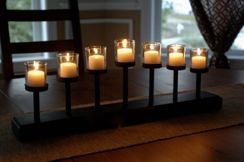 7 Candle Elevated Crowned Votive Candle Set Black With 10