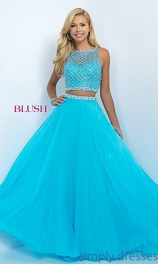 Two Piece Long Illusion Sweetheart Blush Prom Dress