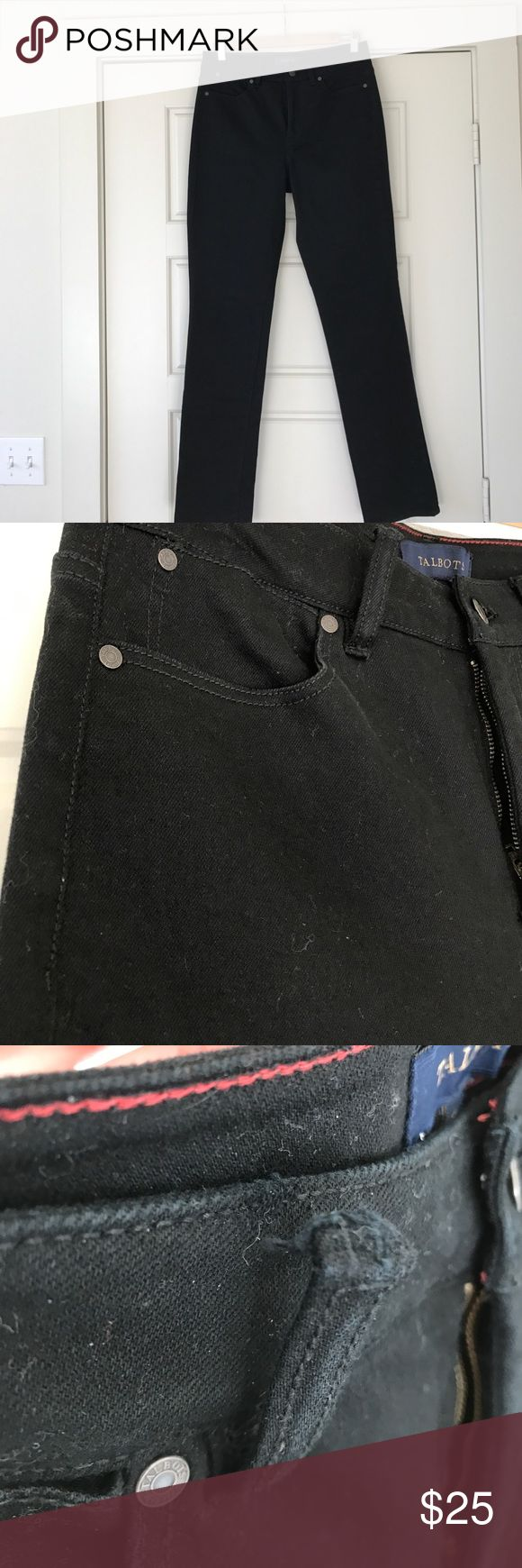 High Rise Straight Leg Black Jeans Excellent condition. Never worn but when trying on the top of one belt loop came free and needs to be restitched. Very easy cheap fix and can be done at home. Mom jean style but made a bit easier to wear with forgiving modern cut. Great wardrobe essential. True to size. Denim feels like Levi's. Talbots Jeans Straight Leg