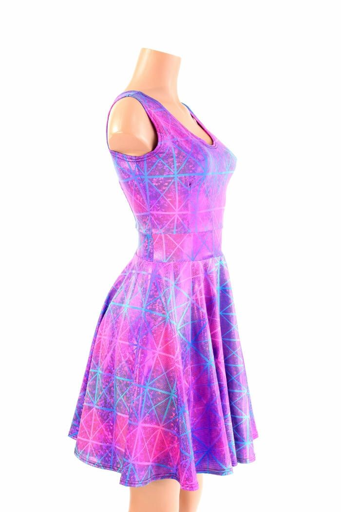 Northern Lights Cracked Tile Holographic Scoop Neck Sleeveless Fit and Flare Skater Skate Dress 154507 by CoquetryClothing on Etsy https://www.etsy.com/listing/530456575/northern-lights-cracked-tile-holographic