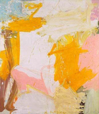Abstract expressionisme in Amerika.  Willen de Kooning, Rosy Fingered dawn at Louse. 1963.  Het gaat de Kooning niet zozeer om de waarneembare werkelijkheid als wel om hèm, de kunstenaar zelf. Niet het thema vervult de hoofdrol maar de schilder.