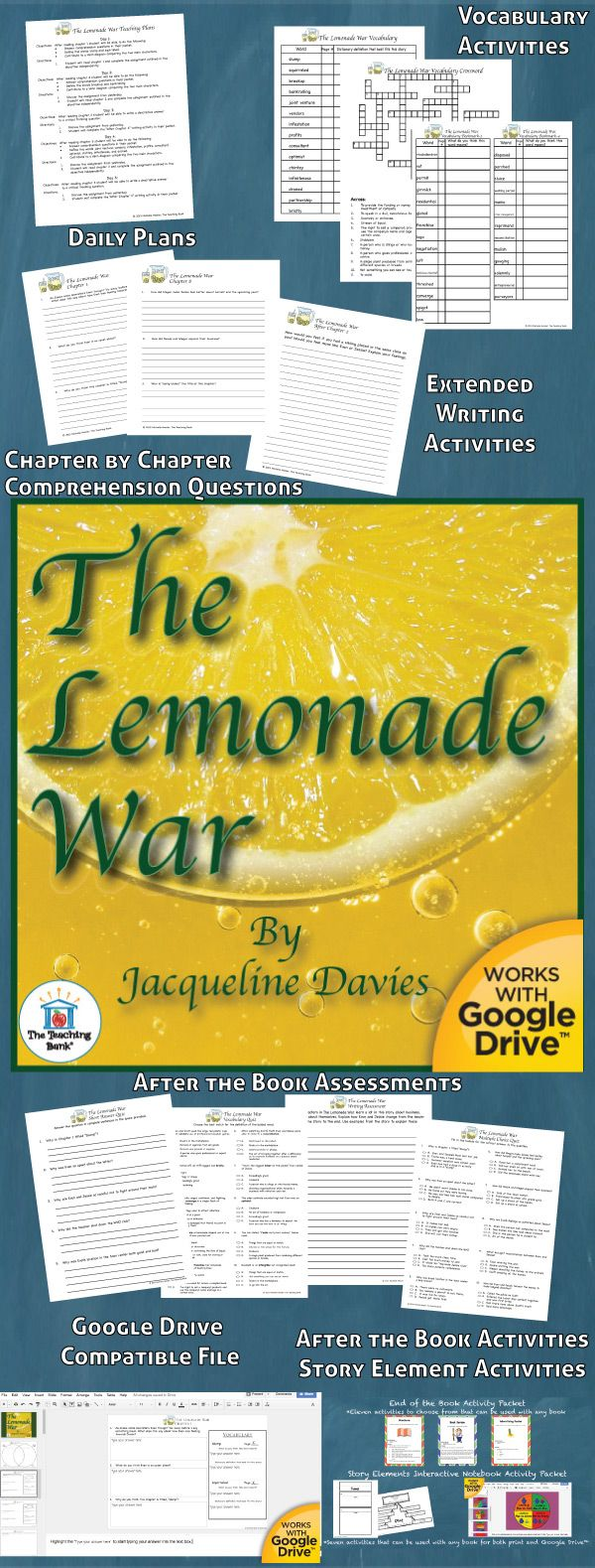 The Lemonade War Novel Study is a Common Core Standard aligned book unit to be used with The Lemonade War by Jacqueline Davies.This download contains both a printable format as well as a Google Drive™ compatible format.