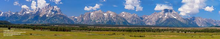 9296, Teton Range Panorama with Horses  Grand Teton National Park, Wyoming Prints to extremely large sizes - 8x27 or I'd prefer 10x34 - would be awesome to build a frame for this with some cool looking wood...