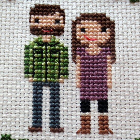 Custom Cross Stitch Family Portrait by WildwoodStitchCo on Etsy