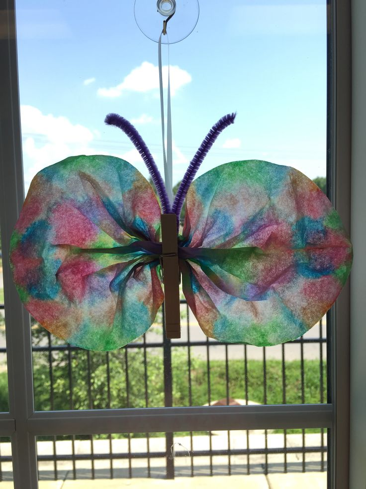 Coffee Filter Water Color Butterfly Hanging Window Decorations Preschool Crafts Summer Spring