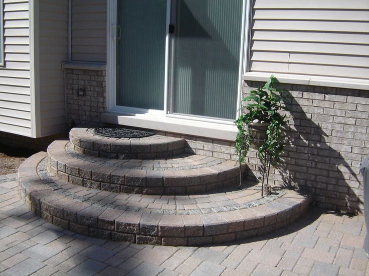 Brick Paver rounded offset steps, Very nice look! | Steps
